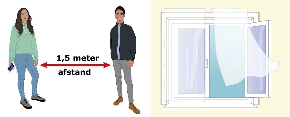 2 afbeeldingen: 1,5 meter, raam open frisse lucht