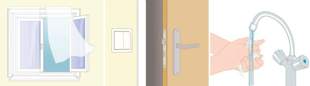 3 afbeelingen: lichtknopje en deurklink, handen wassen, raam open frisse lucht
