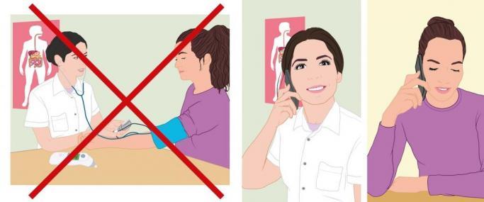 2 afbeeldingen: niet naar dokter, bellen met dokter