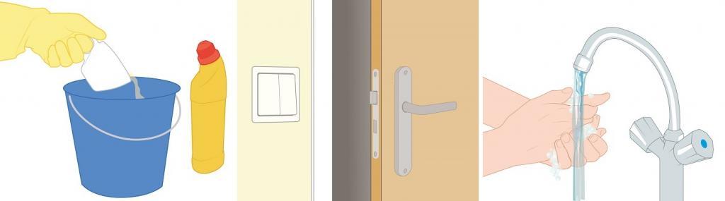 3 afbeeldingen: schoonmaken met bleek, lichtknopje en deurklink, handen wassen