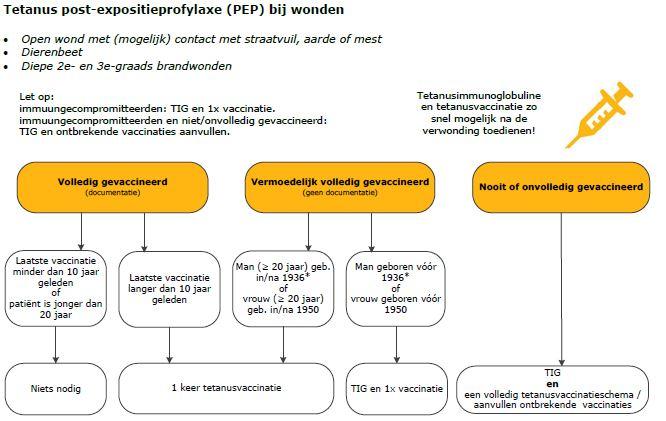 Schematische weergave van de indicaties voor tetanusimmunoglobuline en/of tetanusvaccinatie(s)